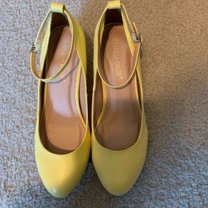NWOT Chase + Chloe Yellow Wedge Shoes